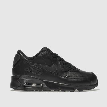 new arrival 43d8f fd75f Nike Black Air Max 90 Leather Unisex Junior