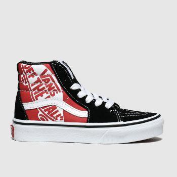 vans black & red sk8-hi zip trainers junior