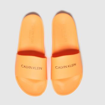 Calvin Klein Orange Slides Unisex Junior
