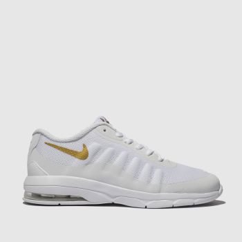 nike white & gold air max invigor trainers junior