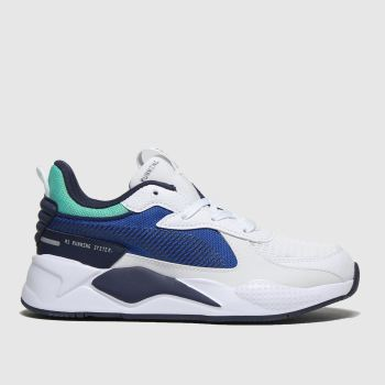 Puma White & Navy Rs-X Hard Drive Unisex Junior