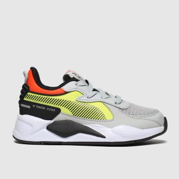 Puma Grey & Yellow Rs-X Hard Drive Unisex Junior
