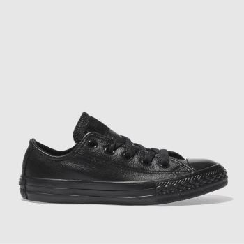 Converse Black All Star Lo Leather Unisex Junior