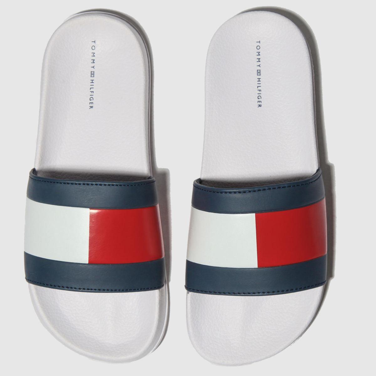 Tommy Hilfiger White & Navy Flag Pool Slide Sandals Junior