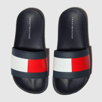 Tommy Hilfiger Navy & White Flag Pool Slide Unisex Junior