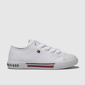 Tommy Hilfiger White Lace Up Sneaker Unisex Junior