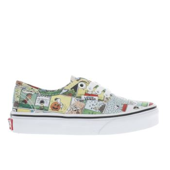 VANS WHITE & YELLOW AUTHENTIC PEANUTS COMIC JUNIOR TRAINERS