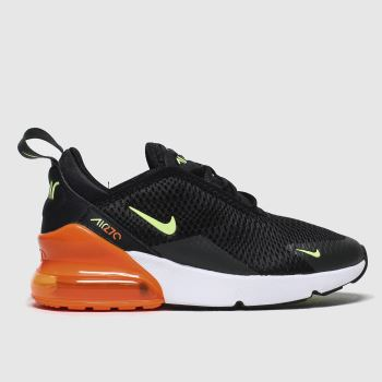 Nike Black & Orange Air Max 270 Unisex Junior