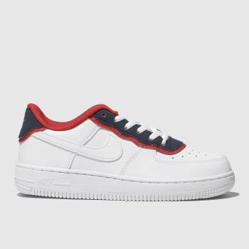 Nike White & Navy Air Force 1 Lv8 1 Dbl Unisex Junior