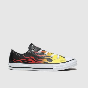 Converse Black & Orange All Star Lo Flame Unisex Junior