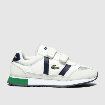 lacoste white & navy partner trainers junior