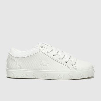 lacoste white straightset trainers junior