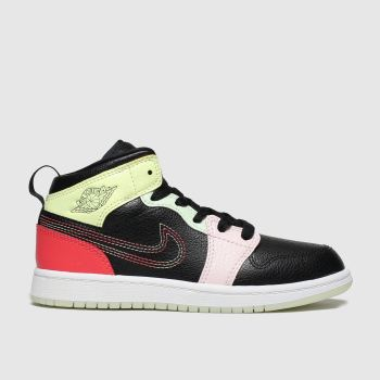 Nike Jordan Black & Orange Jordan 1 Mid Unisex Junior
