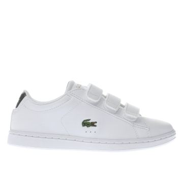 LACOSTE WHITE & GREEN CARNABY EVO JUNIOR TRAINERS