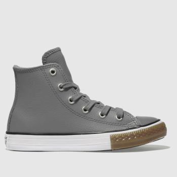 Converse Grey All Star Hi Leather Unisex Junior