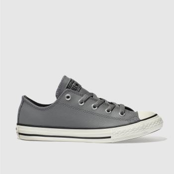 CONVERSE GREY ALL STAR LO LEATHER JUNIOR TRAINERS