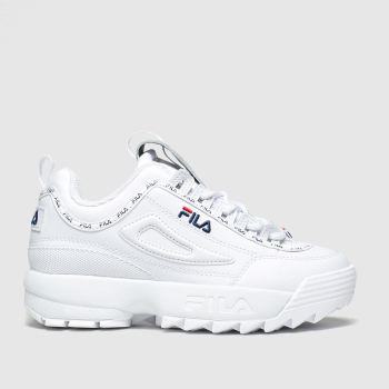 Fila White & Navy Disruptor Repeat Flag Unisex Junior