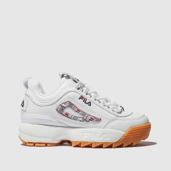 Fila White & Navy Disruptor Ii Haze Unisex Junior