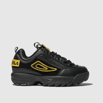 fila black disruptor ii patches trainers junior