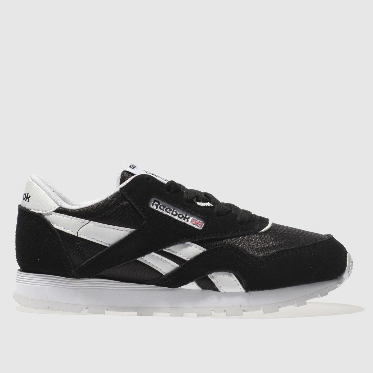 713ffb3b2b1 reebok black   white classic nylon trainers junior