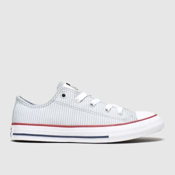 Converse Light Grey Lo Pinstripe Unisex Junior