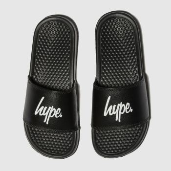 Hype Black & White Script Sliders Unisex Junior