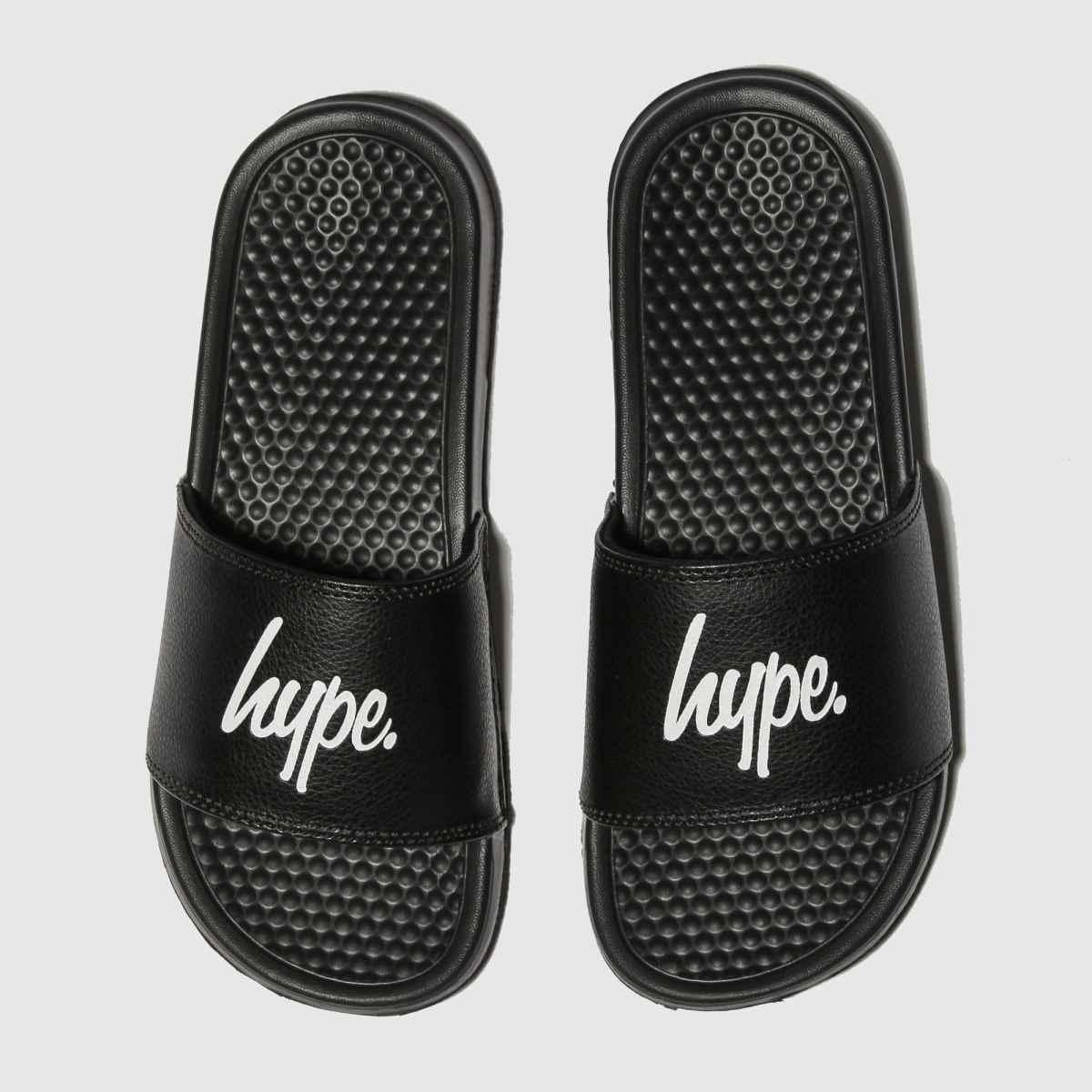 Hype Black & White Script Sliders Sandals Junior