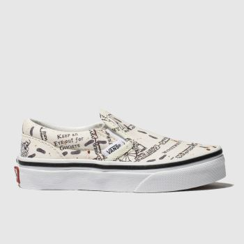 Vans White & Beige Hp Marauders Map Classic Slip Unisex Junior