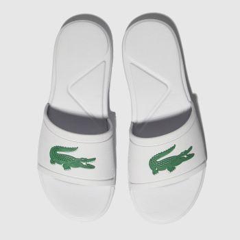 lacoste white & green l.30 slide sandals junior