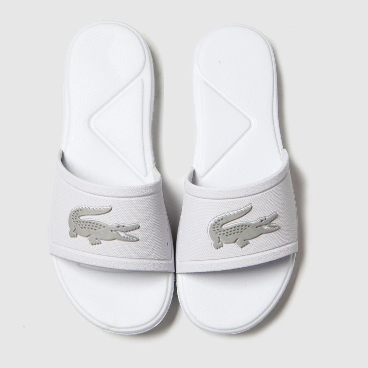 Lacoste White & Silver L.30 Slide Trainers Junior