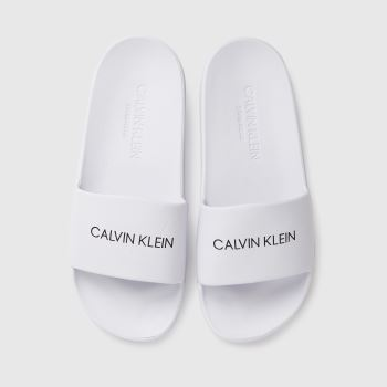 CALVIN KLEIN White Slides Unisex Junior