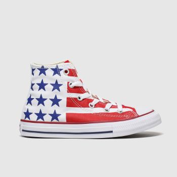 Converse White & Red Ctas Hi Bars&stripes Unisex Junior