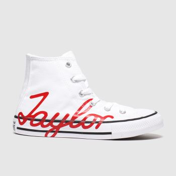 Converse White & Red All Star Hi Chuck Taylor Day Unisex Junior