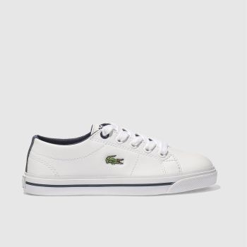 LACOSTE WHITE & NAVY RIBERAC TRAINERS JUNIOR