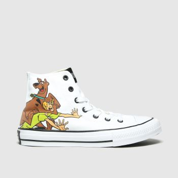 Converse White & Brown All Star Hi Scooby Unisex Junior#