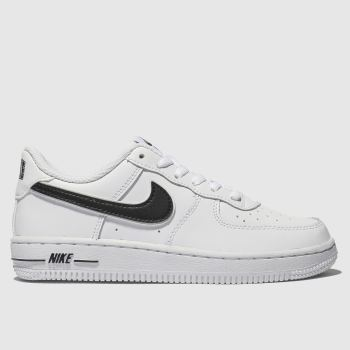 Nike White & Black Air Force 1-3 Unisex Junior