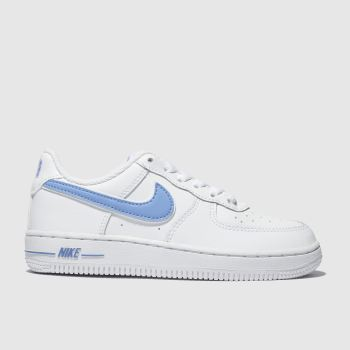 Nike White & Pl Blue Air Force 1-3 Unisex Junior