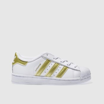 ADIDAS WHITE & GOLD SUPERSTAR TRAINERS JUNIOR
