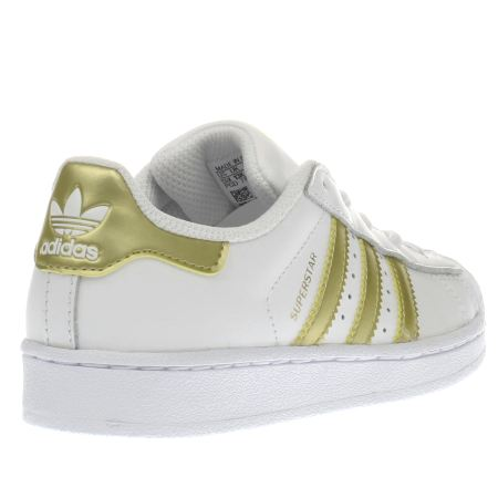 Adidas Superstar White With Gold Stripes