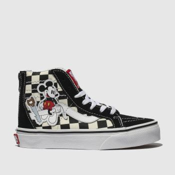 Vans Black & White Sk8-Hi Zip Mickey Unisex Junior
