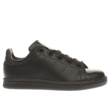 ADIDAS BLACK STAN SMITH JUNIOR TRAINERS