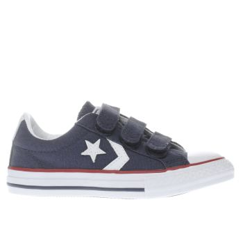 CONVERSE NAVY & WHITE STAR PLAYER 3V BOYS JUNIOR TRAINERS