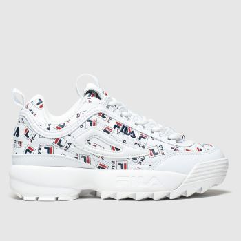 Fila White & Navy Disruptor Ii Multilogo Unisex Junior