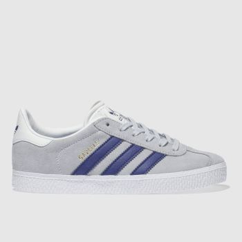 ADIDAS GREY & NAVY GAZELLE TRAINERS JUNIOR