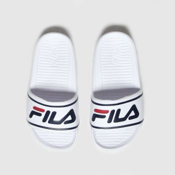 Fila White & Navy Sleek Slide St Unisex Junior