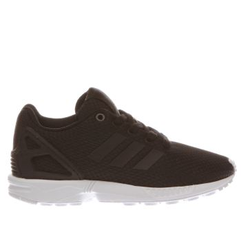 ADIDAS BLACK & WHITE ZX FLUX JUNIOR TRAINERS
