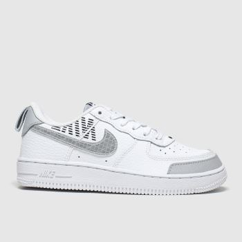 nike white & grey air force 1 lv8 2 trainers junior