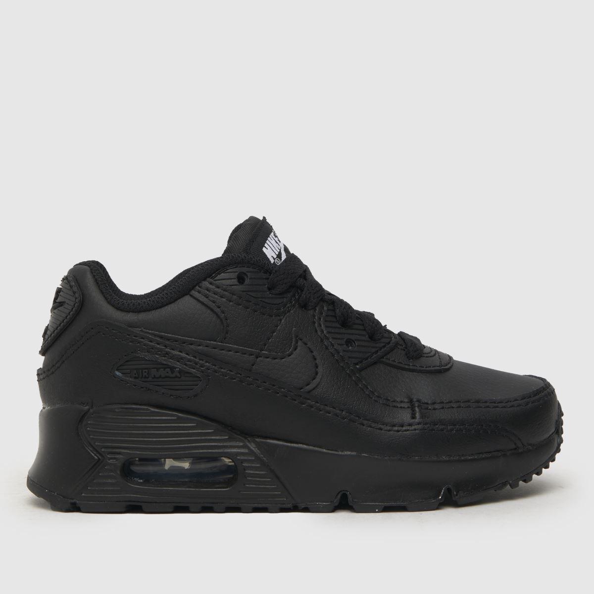Nike black air max 90 ltr trainers junior