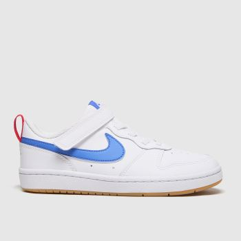 Nike White & Blue Court Borough Low 2 Unisex Junior