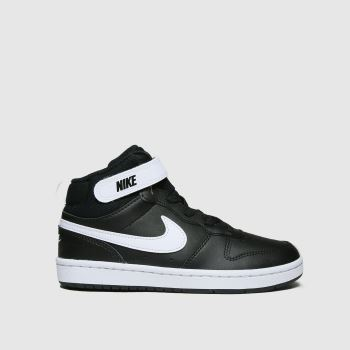 Nike Black & White Court Borough Mid 2 Unisex Junior